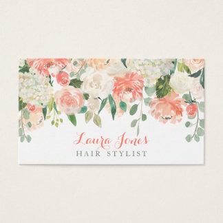 水彩画の花の美容師のアポイントメントカード 名刺