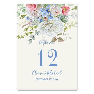 水彩画の花の花束のアイボリーの青色 カード