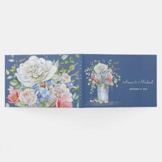 水彩画の花の花束のアイボリーの青色 ゲストブック