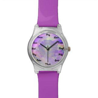 水彩画の花の虹の確実 腕時計
