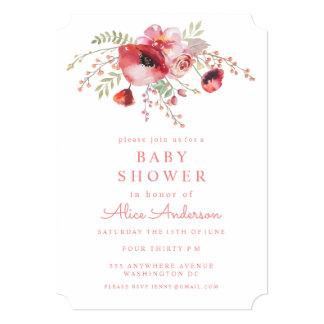 水彩画の花の赤いケシのベビーシャワーの招待 12.7 X 17.8 インビテーションカード