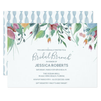 水彩画の花の青い花嫁のブランチのパーティー カード