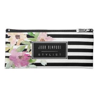 水彩画の花は及び縞で飾ります ペンシルケース