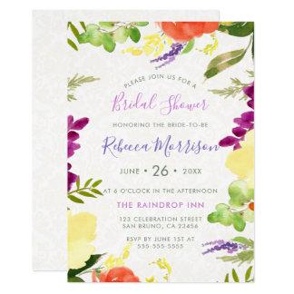 水彩画の花及びベージュダマスク織のブライダルシャワー カード