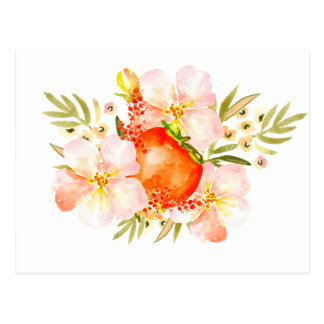 水彩画の花及び柿のフルーツの花束 ポストカード