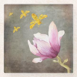 水彩画の花及び金ゴールドの蜂 ガラスコースター