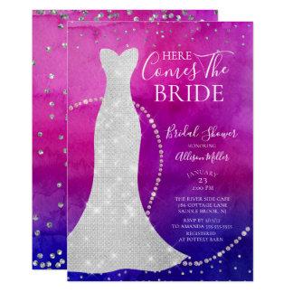 水彩画の花嫁のブライダルシャワーの招待状 カード
