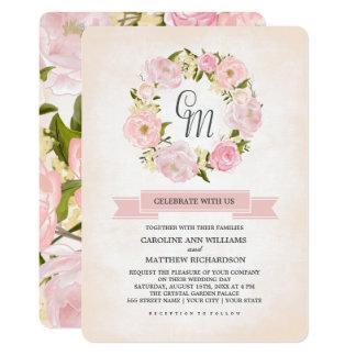 水彩画の花柄のカスタムの結婚式招待状 カード