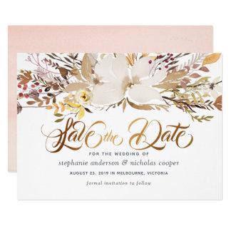 水彩画の花柄の保存日付 カード
