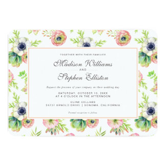 水彩画の花柄及びSucculents -結婚式 カード