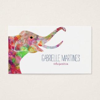水彩画の花柄象 名刺