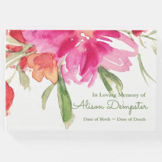水彩画の花模様の記念の葬儀の来客名簿 ゲストブック