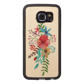 水彩画の花花束 ウッドケース