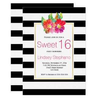 水彩画の花、ストライプなsweet sixteenの誕生日 12.7 x 17.8 インビテーションカード