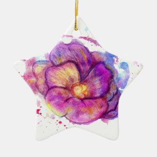 水彩画の花 セラミックオーナメント
