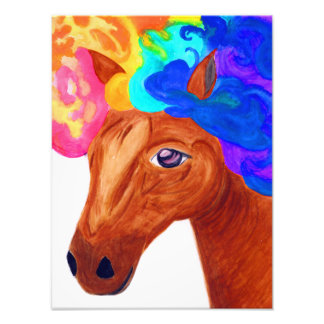 水彩画の芸術のプリント[キャンデートウモロコシ]アフロの馬 フォトプリント