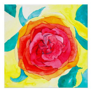 水彩画の芸術のプリント[花びら]花 ポスター
