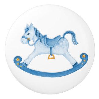 水彩画の芸術の青い揺り木馬のノブ セラミックノブ