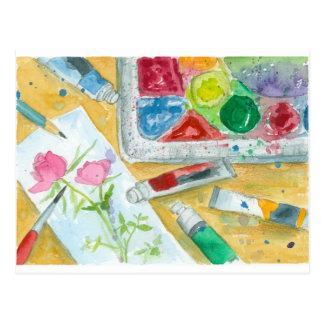 水彩画の芸術家のパレットのピンクのバラの絵画 ポストカード