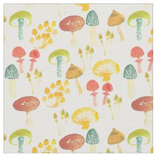 水彩画の菌類のきのこ ファブリック