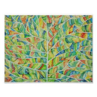 水彩画の葉の写真のプリント フォトプリント