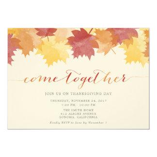 水彩画の葉の感謝祭のパーティーの招待 カード