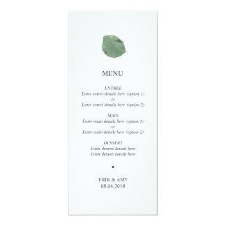 水彩画の葉の結婚式メニュー カード