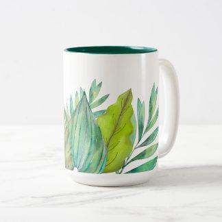 水彩画の葉|のマグ ツートーンマグカップ