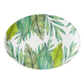 水彩画の葉|の大皿 磁器大皿