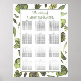 水彩画の葉-緑の草木の結婚式の座席の図表 ポスター