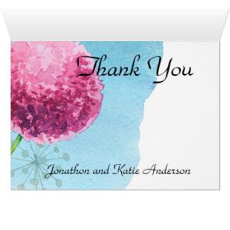 水彩画の葱類の花柄ありがとう カード