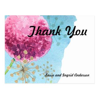 水彩画の葱類の花柄ありがとう ポストカード