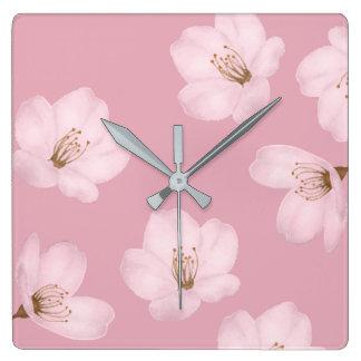 水彩画の藤色の桜の柱時計 スクエア壁時計