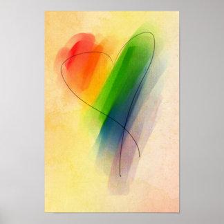 水彩画の虹のハート ポスター