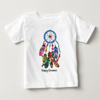 水彩画の虹の夢のキャッチャー及び活気づけるな単語 ベビーTシャツ