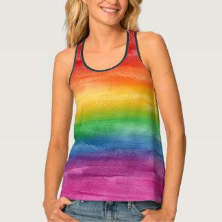 水彩画の虹は縞で飾ります タンクトップ