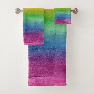 水彩画の虹は縞で飾ります バスタオルセット