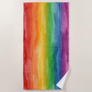 水彩画の虹は縞で飾ります ビーチタオル