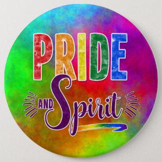 水彩画の虹ゲイプライドおよび精神メッセージ 15.2CM 丸型バッジ