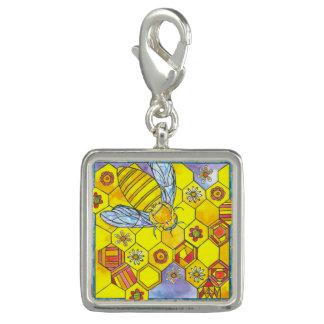 水彩画の蜂蜜の蜂の明るい黄色 チャーム