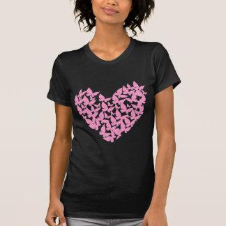 水彩画の蝶ハートのピンク愛Tシャツ Tシャツ