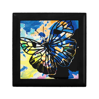 水彩画の蝶記念品箱(青い) ギフトボックス