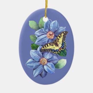 水彩画の蝶陶磁器の楕円形のオーナメント セラミックオーナメント
