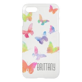 水彩画の蝶iPhone 7のClearly™のディフレクター iPhone 8/7 ケース