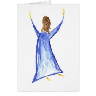 水彩画の賞賛の女の子 カード