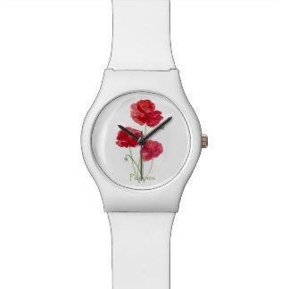 水彩画の赤いケシの花のかわいらしい花の芸術 腕時計