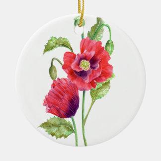 水彩画の赤いケシの花柄の芸術 セラミックオーナメント