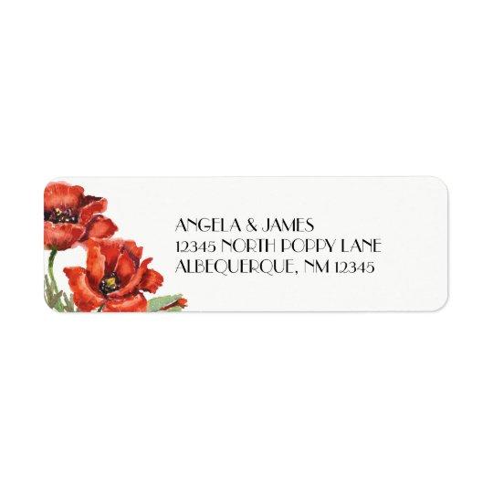 水彩画の赤いケシの花 返信用宛名ラベル