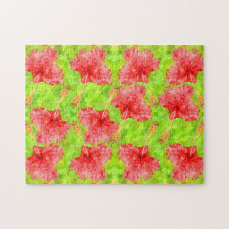 水彩画の赤いハイビスカスの熱帯アロハ植物 ジグソーパズル