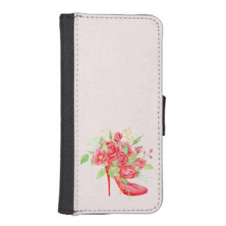 水彩画の赤いバラの靴のウォレットケース iPhoneSE/5/5sウォレットケース